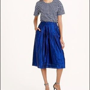 J. Crew Metallic Pleated Midi Skirt Size 10